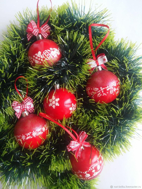 Елочные шарики в традиционном красном цвете