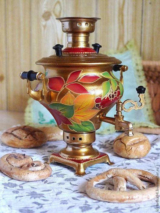 самоварчик декоративный сувенирный расписной маленький с росписью осенние листья подарок в коллекцию любителям чаепития декор кухни столовой золотой самовар