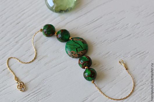 Браслеты ручной работы. Ярмарка Мастеров - ручная работа. Купить Позолоченный браслет с зелеными яшмовыми бусинами. Handmade. Зеленый
