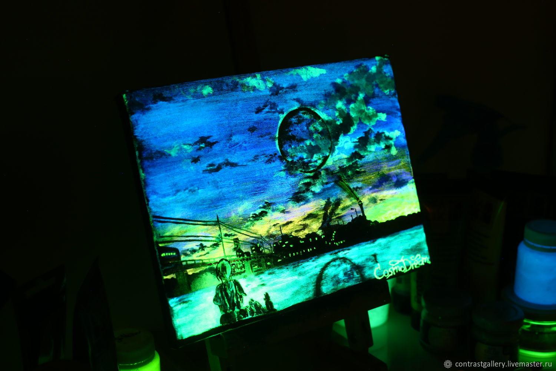 Светящаяся в темноте картина «Огни ночного острова», Картины, Вязьма,  Фото №1