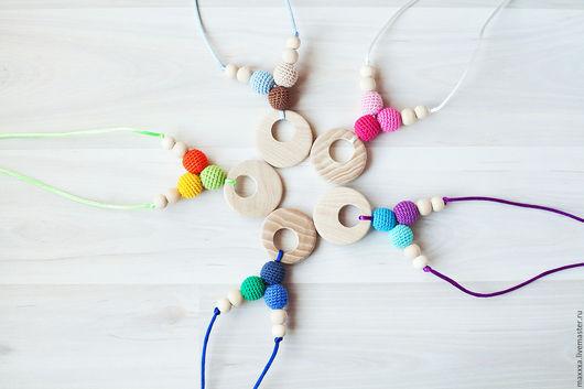 Развивающие игрушки ручной работы. Ярмарка Мастеров - ручная работа. Купить Слингобусы (слингокулончики) разноцветные с кулоном из ясеня. Handmade. Слингобусы