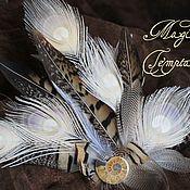 Украшения handmade. Livemaster - original item Hair clip brooch of peacock and pheasant with Ammonite.. Handmade.