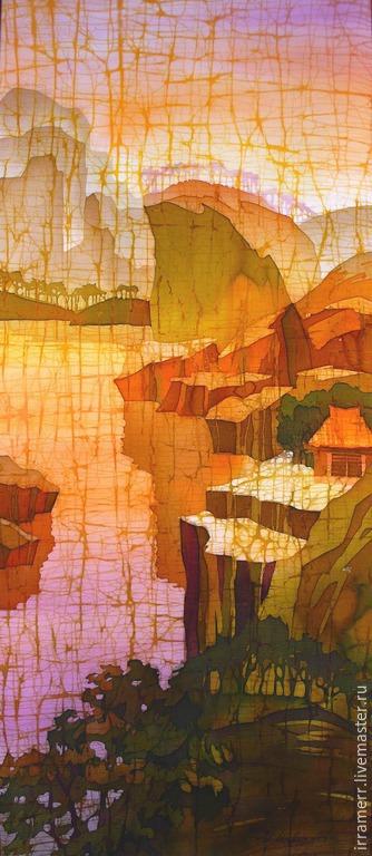 """Пейзаж ручной работы. Ярмарка Мастеров - ручная работа. Купить картина в технике батик """" Восточный пейзаж"""". Handmade. Оранжевый"""