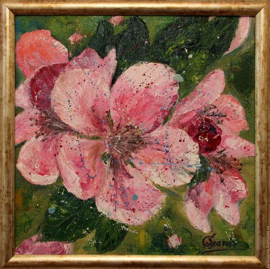 Цветущая сакура, картина маслом