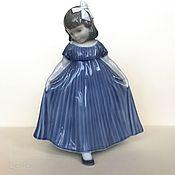Винтаж handmade. Livemaster - original item Figurine Girl in blue Royal Copenhagen, Denmark. Handmade.