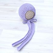 Работы для детей, handmade. Livemaster - original item Cap newborn photo shoot Lavender. Handmade.