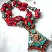 Украшения handmade. Livemaster - original item NECKLACE 2 strands RED CORAL pendant NEPAL necklaces. (SOLD). Handmade.