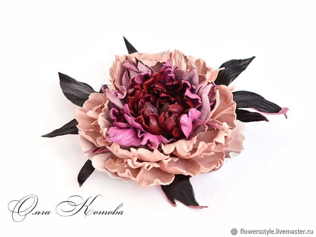 Leather flowers Royal Peony Marsala Brooch in gift large, Brooches, Kursk,  Фото №1
