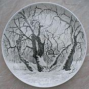 handmade. Livemaster - original item Winter landscape (plate porcelain). Handmade.