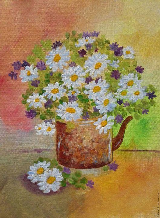 Картины цветов ручной работы. Ярмарка Мастеров - ручная работа. Купить Ромашки. Handmade. Белый, чайник, акриловый лак