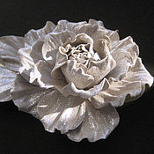 Украшения handmade. Livemaster - original item Leather flowers. The leather accessories.Brooch pin flower SILVER ROSE. Handmade.