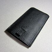 Сумки и аксессуары handmade. Livemaster - original item Phone case with hood made of genuine black leather.. Handmade.