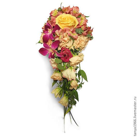 Свадебные цветы ручной работы. Ярмарка Мастеров - ручная работа. Купить Букет невесты каскадный. Handmade. Свадебный букет, портбукетница