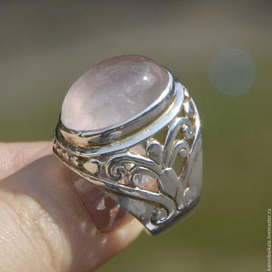 Кольца ручной работы. Ярмарка Мастеров - ручная работа. Купить Перстень с розовым кварцем (Р20). Handmade. Бледно-розовый