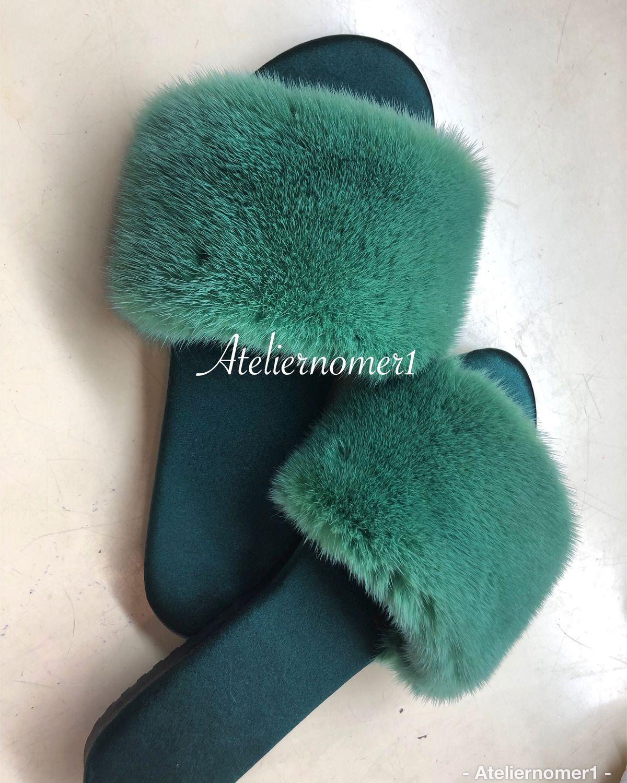 Обувь ручной работы. Ярмарка Мастеров - ручная работа. Купить Шлепки с зеленой норкой. Handmade. Подарок, домашнее, пальто с мехом