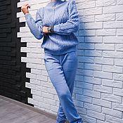 Одежда ручной работы. Ярмарка Мастеров - ручная работа Кашемировый костюм с плетеным свитером Голубой цвет. Handmade.