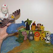 """Куклы и игрушки ручной работы. Ярмарка Мастеров - ручная работа Пальчиковый театр """"Айболит"""". Handmade."""