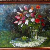 Картины ручной работы. Ярмарка Мастеров - ручная работа Натюрморт с тюльпанами. Handmade.
