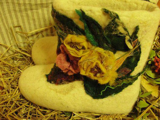 """Обувь ручной работы. Ярмарка Мастеров - ручная работа. Купить Валенки ручной работы """"Шеврон"""". Handmade. Белый, уютный подарок"""