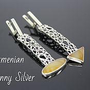 Украшения handmade. Livemaster - original item Marshmallow asymmetric earrings with jades made of 925 sterling silver (VIDEO). Handmade.