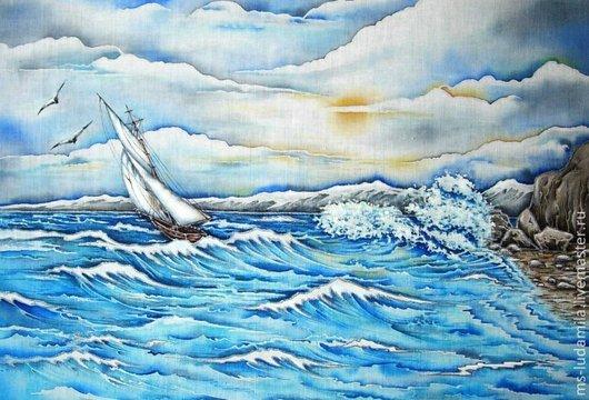 """Пейзаж ручной работы. Ярмарка Мастеров - ручная работа. Купить Батик Картина """"Песня Синих Морей"""". Handmade. Синий, море"""