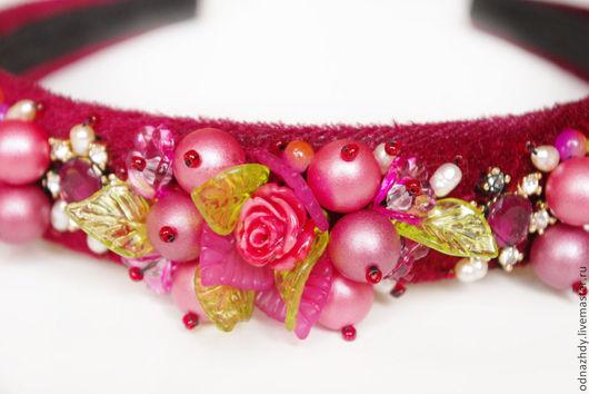"""Диадемы, обручи ручной работы. Ярмарка Мастеров - ручная работа. Купить Ободок """"Cranberry"""" в стиле D&G. Handmade. Бордовый"""