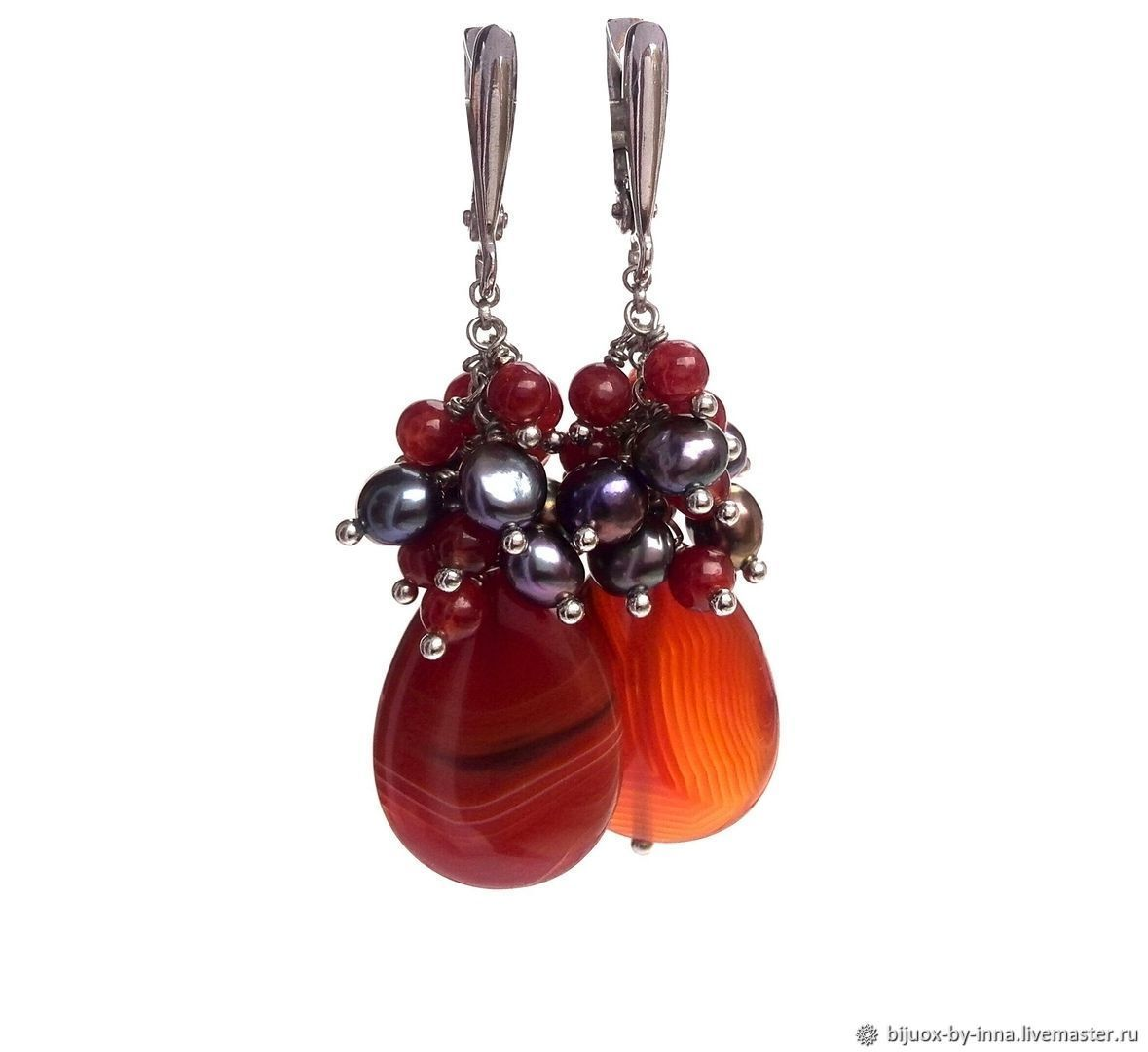 Bunch earrings with black pearls and carnelian. Earrings with chains, Earrings, Permian,  Фото №1