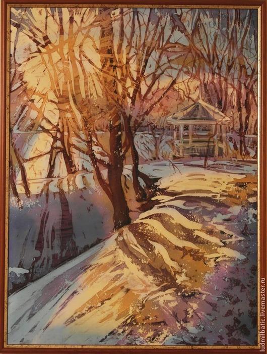 Пейзаж ручной работы. Ярмарка Мастеров - ручная работа. Купить Мороз и солнце. Handmade. Желтый, картина, февраль, натуральный шёлк