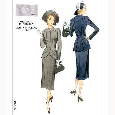 Материалы для творчества ручной работы. Ярмарка Мастеров - ручная работа V1019 Выкройка винтажного костюма 40-х годов (1947) от VOGUE. Handmade.