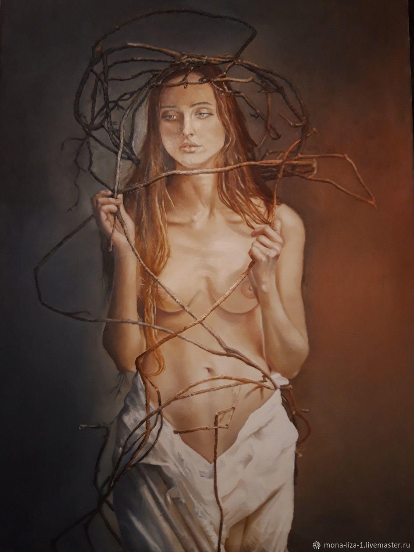 """Картина маслом """"Запутавшаяся в прутьях"""" девушка ню, Картины, Анапа,  Фото №1"""