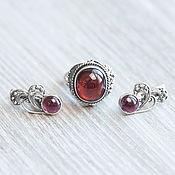 Украшения handmade. Livemaster - original item Garnet (ring and earrings) (895). Handmade.