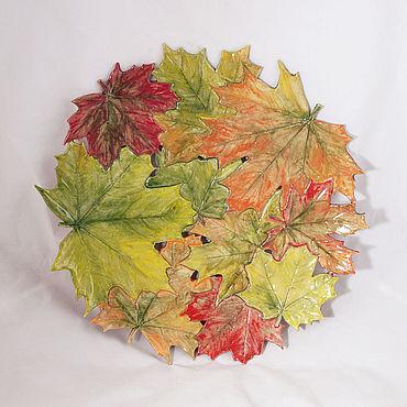 Посуда ручной работы. Ярмарка Мастеров - ручная работа Ажурное блюдо Осенний клён 40 см. Handmade.