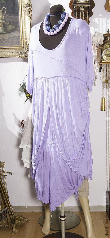 Большие размеры ручной работы. Ярмарка Мастеров - ручная работа. Купить Туника платье сирень и серый 48 50 52 размер. Handmade.