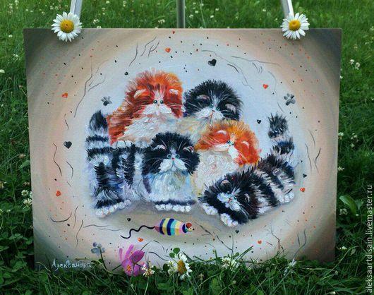 Животные ручной работы. Ярмарка Мастеров - ручная работа. Купить картина маслом котики. Handmade. Комбинированный, масляная живопись, Живопись