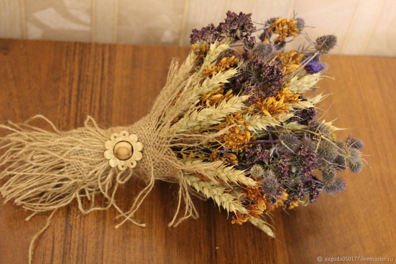 Букетик -оберег Чертополох .душица. пшеница .васильки.зверобой, Букеты, Калуга,  Фото №1