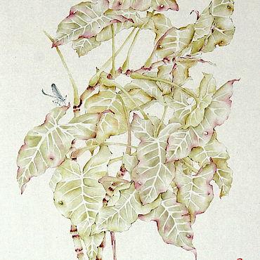 Картины и панно ручной работы. Ярмарка Мастеров - ручная работа Китайская живописьСтрекоза(картина акварель пастельные тона нежность). Handmade.