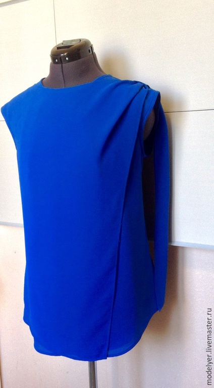 Большие размеры ручной работы. Ярмарка Мастеров - ручная работа. Купить Блузка 48/50р. Handmade. Синий, Женская блузка, купить