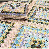 Для дома и интерьера ручной работы. Ярмарка Мастеров - ручная работа Лоскутное одеяло и подушка «Лазурная вуаль» № 1035. Handmade.