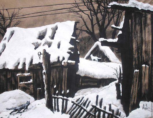 Пейзаж ручной работы. Ярмарка Мастеров - ручная работа. Купить Зима в городке. Handmade. Коричневый, графика, гуашь, деревня, городок