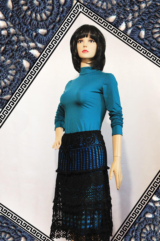 Вязаная ажурная юбка крючком, купить заказать юбку ручной работы.