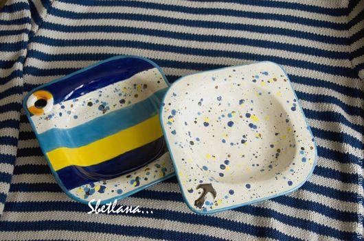 Две глубокие тарелки ` Море, море...` Авторская керамика . Sвеtlaна... Ярмарка мастеров.