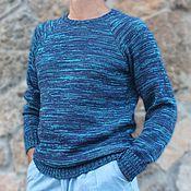 Одежда ручной работы. Ярмарка Мастеров - ручная работа Джемпер вязаный мужской Свитер шерсть синий. Handmade.