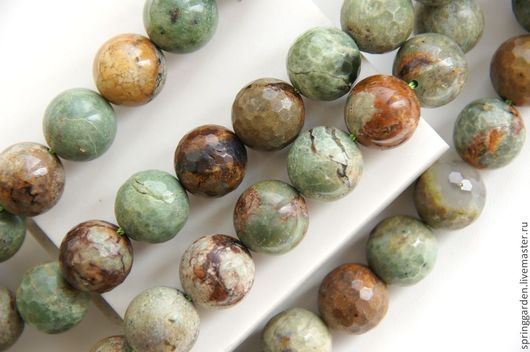 Для украшений ручной работы. Ярмарка Мастеров - ручная работа. Купить Опал Зеленый ДИКИЙ гладкие  бусины 14 мм. Handmade.