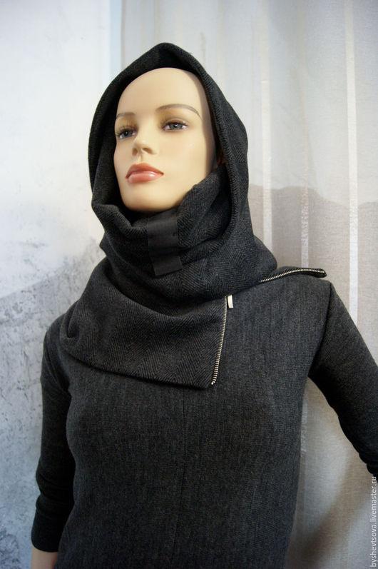 Верхняя одежда ручной работы. Ярмарка Мастеров - ручная работа. Купить шарф-капюшон. Handmade. Черный, зима