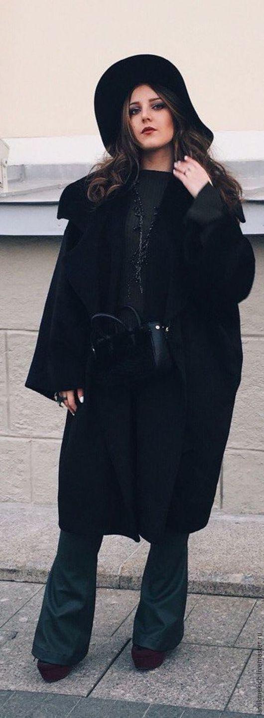 """Верхняя одежда ручной работы. Ярмарка Мастеров - ручная работа. Купить Пальто  черное двубортное в стиле бохо. """"Шик"""". Handmade."""