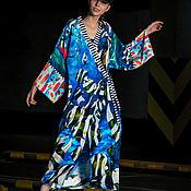 Одежда ручной работы. Ярмарка Мастеров - ручная работа Шелковое кимоно с авторским принтом. Handmade.
