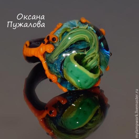 Кольцо женское `Медуза Янь`, 19 размер , полностью из стекла