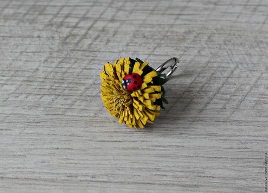 """Кольца ручной работы. Ярмарка Мастеров - ручная работа. Купить Кольцо """"Одуванчик"""". Handmade. Желтый, подарок девушке, одуванчик"""