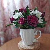 """Композиции ручной работы. Ярмарка Мастеров - ручная работа Интерьерная композиция """"Букет кустовых роз"""".. Handmade."""