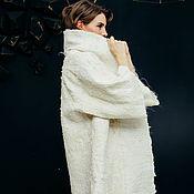 Одежда handmade. Livemaster - original item Jackets: Felted cardigan with fleece. Eco fur. Handmade.